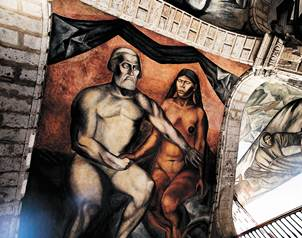 Pintura que representa el encuentro entre el emperador Moctezuma y Hern�n Cort�s.