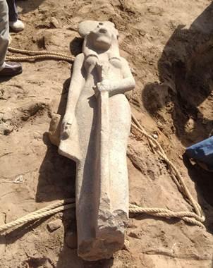 Imagen de la estatua de granito de la diosa Sejmet, perteneciente a la �poca del fara�n Amenhotep II