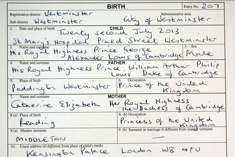 El Universal - Estilos - Registran al hijo de los duques de Cambridge